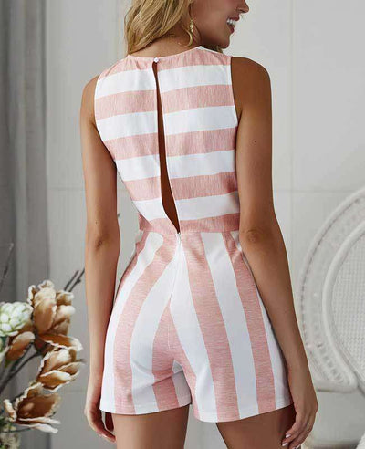 Sleeveless Striped Jumpsuit Short-8