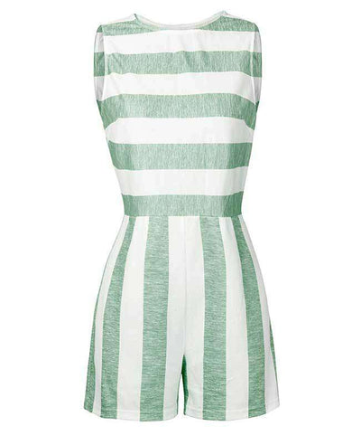 Sleeveless Striped Jumpsuit Short-5
