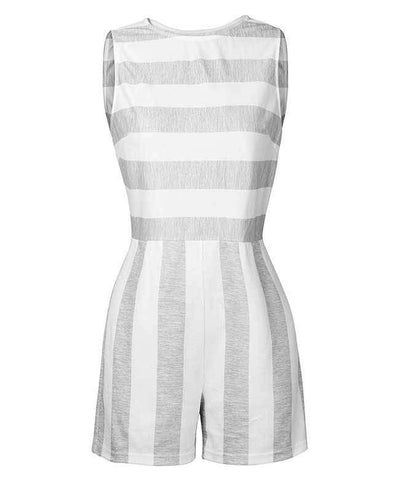 Sleeveless Striped Jumpsuit Short-7