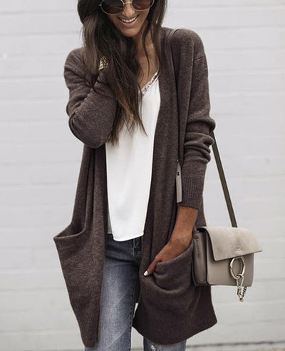 Solid Color Pocket Long Cardigan Sweater-1
