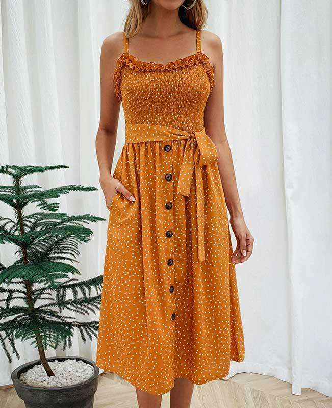 Spaghetti Strap Polka Dot Boho Dress-1