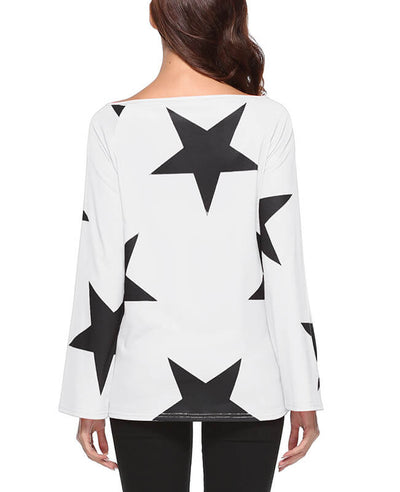 Star Print One Shoulder Tops-6