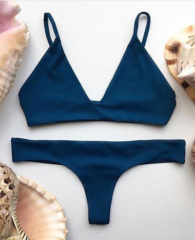 Trangel Solid Color Low Waist Swimsuits