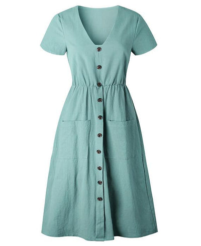 Tunic V-Neck Short Sleeve Cotton Midi Dresses