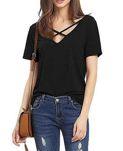 V-Neck Cross Bandage Solid Color T-Shirt