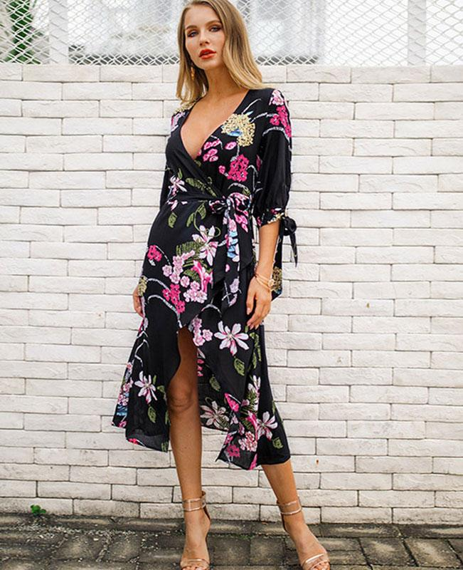 V-neck Chiffon Floral Maxi Dress