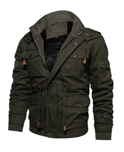 Washed Cotton Fleece Military Jacket