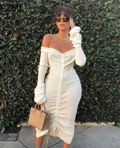 White Off the Shoulder Dress-1