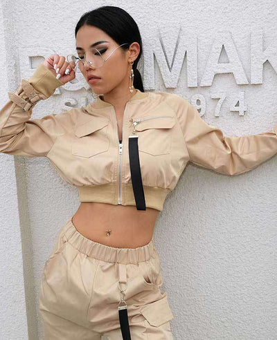 Women Crop Bomber Jacket-2