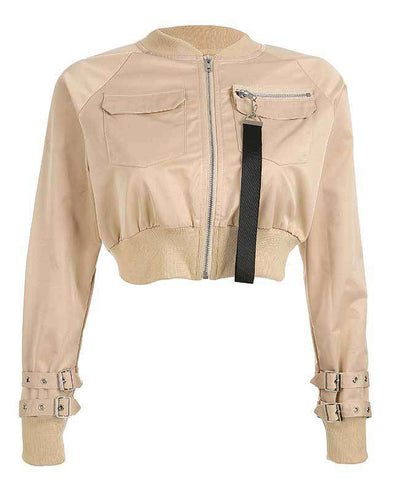 Women Crop Bomber Jacket-3