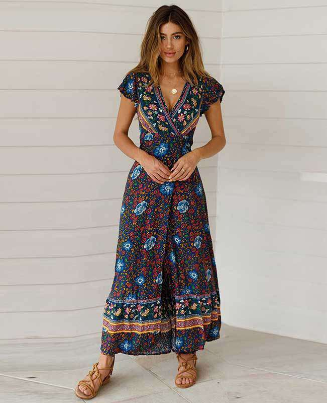 Women's Bohemian Warp Dress-1