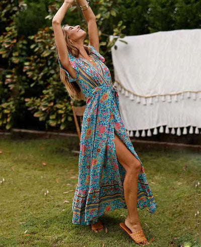 Women's Bohemian Warp Dress-9