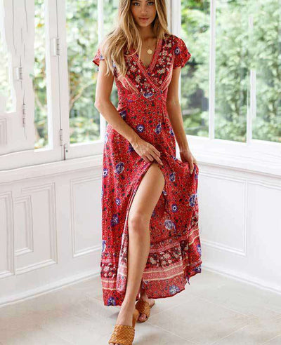 Women's Bohemian Warp Dress-5