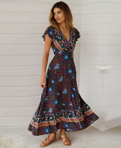 Women's Bohemian Warp Dress-6