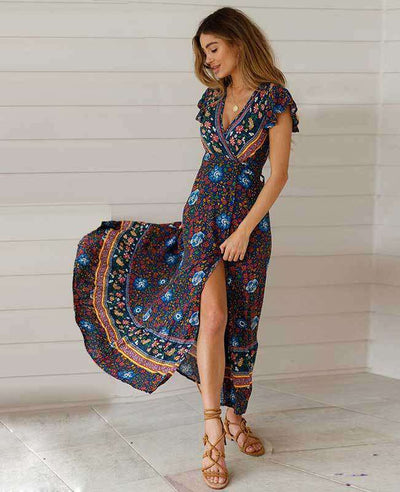 Women's Bohemian Warp Dress-7