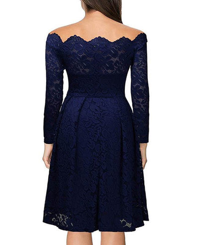 Boat Neck Floral Lace Swing Dress