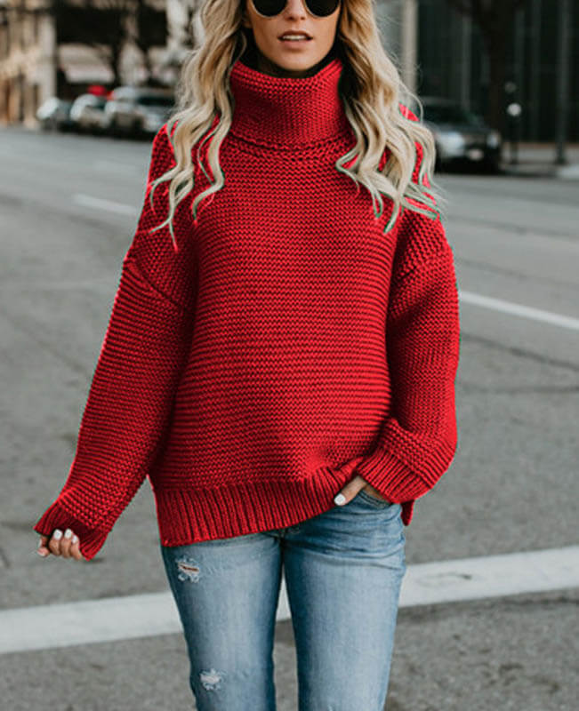 4f49d16e5488 Cable Knit Oversized Women's Turtleneck Sweater - Seamido
