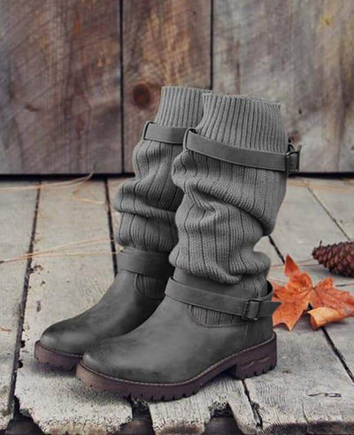 Cable Knit Patchwork Calf Boots-2