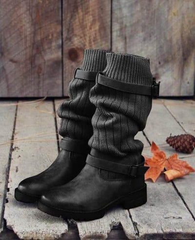 Cable Knit Patchwork Calf Boots-3