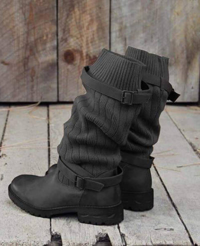 Cable Knit Patchwork Calf Boots-4