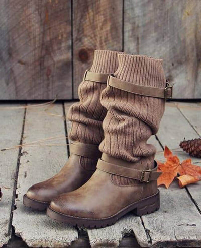 Cable Knit Patchwork Calf Boots-1