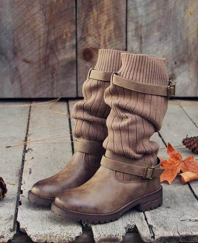 Cable Knit Patchwork Calf Boots-8