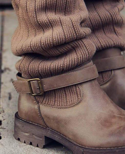 Cable Knit Patchwork Calf Boots-7