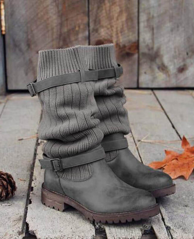 Cable Knit Patchwork Calf Boots-6