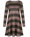 Casual Loose Long Sleeve Striped Dress-4