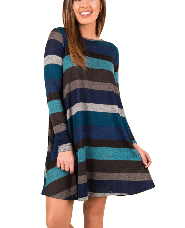 Casual Loose Long Sleeve Striped Dress