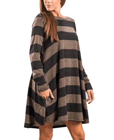 Casual Loose Long Sleeve Striped Dress-3