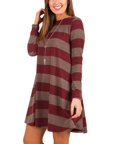 Casual Loose Long Sleeve Striped Dress-6