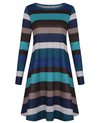 Casual Loose Long Sleeve Striped Dress-7
