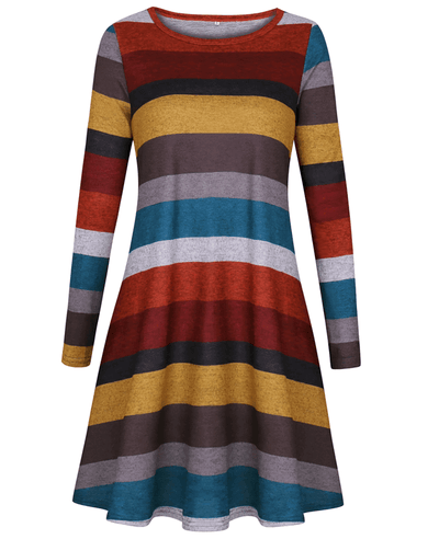 Casual Loose Long Sleeve Striped Dress-1