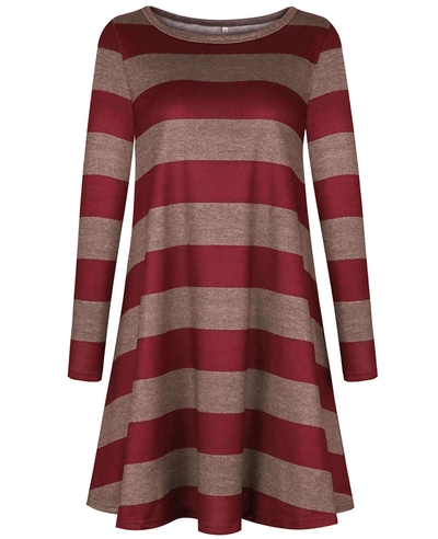 Casual Loose Long Sleeve Striped Dress-2