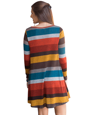 Casual Loose Long Sleeve Striped Dress-8