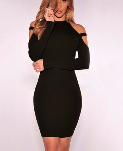 Cold Shoulder Long Sleeve Sexy Bodycon Dress