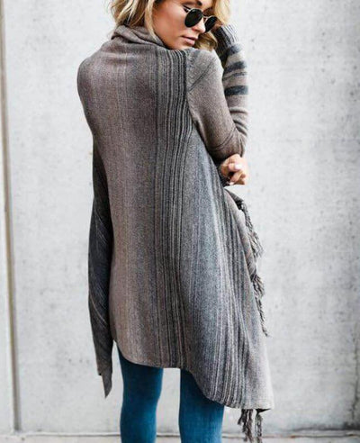 Colorful Stripes Tassel Sweater Long Cardigan