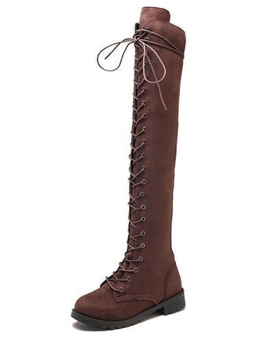 Combat Knee High Lace Up Boots