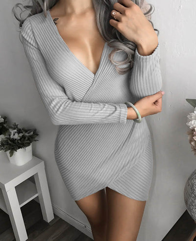 Front Cross Sexy Bodycon Mini Dress-2