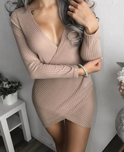 Front Cross Sexy Bodycon Mini Dress-1