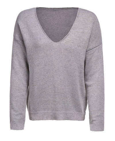 Knit Simple V Neck Sweater