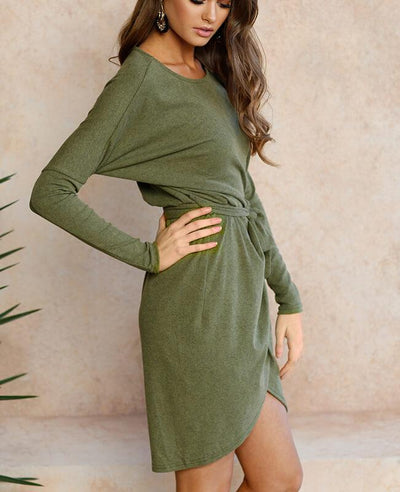 Long Sleeve Belted Bodycon Mini Dress-5