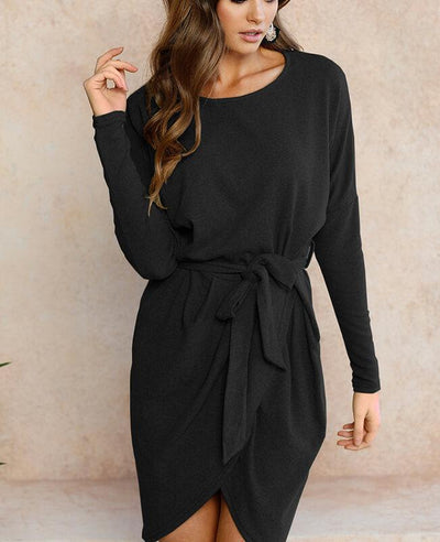 Long Sleeve Belted Bodycon Mini Dress-4