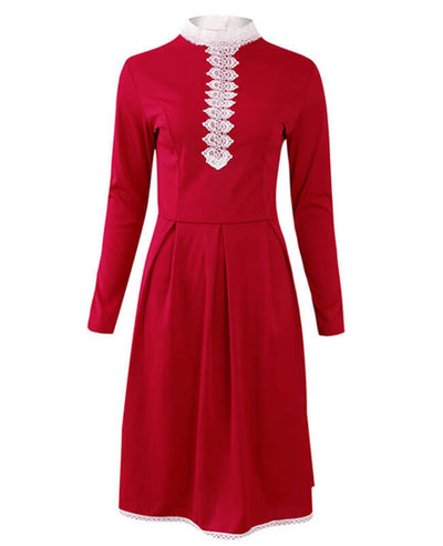 Long Sleeve Crochet Lace A-line Dress
