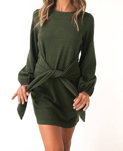 Long Sleeve Solid Color Belted Dress-1