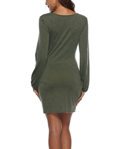 Long Sleeve Solid Color Belted Dress-6
