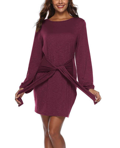 Long Sleeve Solid Color Belted Dress-4