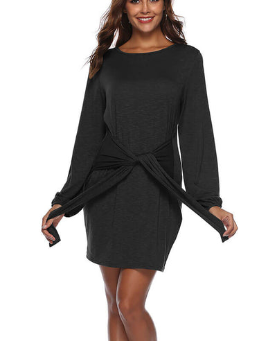 Long Sleeve Solid Color Belted Dress-5