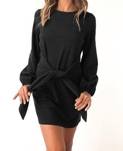 Long Sleeve Solid Color Belted Dress-3